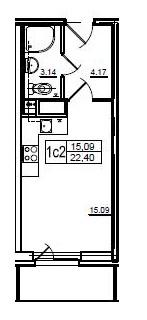 Планировка Студия площадью 22.8 кв.м в ЖК «Union»