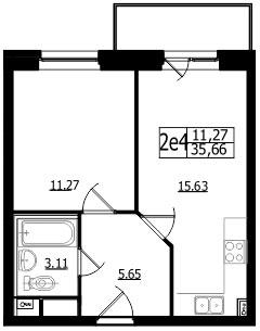 Планировка Однокомнатная квартира площадью 35.6 кв.м в ЖК «Union»