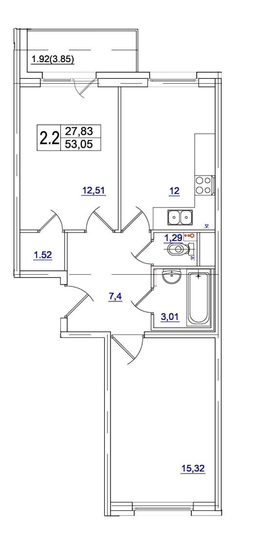 Планировка Двухкомнатная квартира площадью 52.4 кв.м в ЖК «Union»