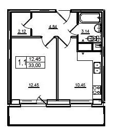 Планировка Однокомнатная квартира площадью 33 кв.м в ЖК «Union»